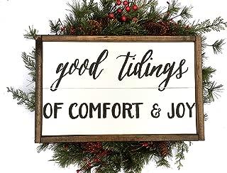 Unknow Señal de Madera Pintada a Mano con Texto en inglés Good Tidings of Comfort Joy Handcrafted Christmas Sign Farmhouse Christmas
