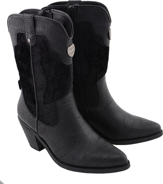 Milwaukee Performance MBL9441-BLACK-7 Women's Western Boot with Snake Print Black, 7