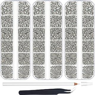 9000 Pieces Hotfix Rhinestone Clear 6 Sizes Flatback Round Glass Gemstone Crystal Iron On Rhinestones Glass Stones with Tw...