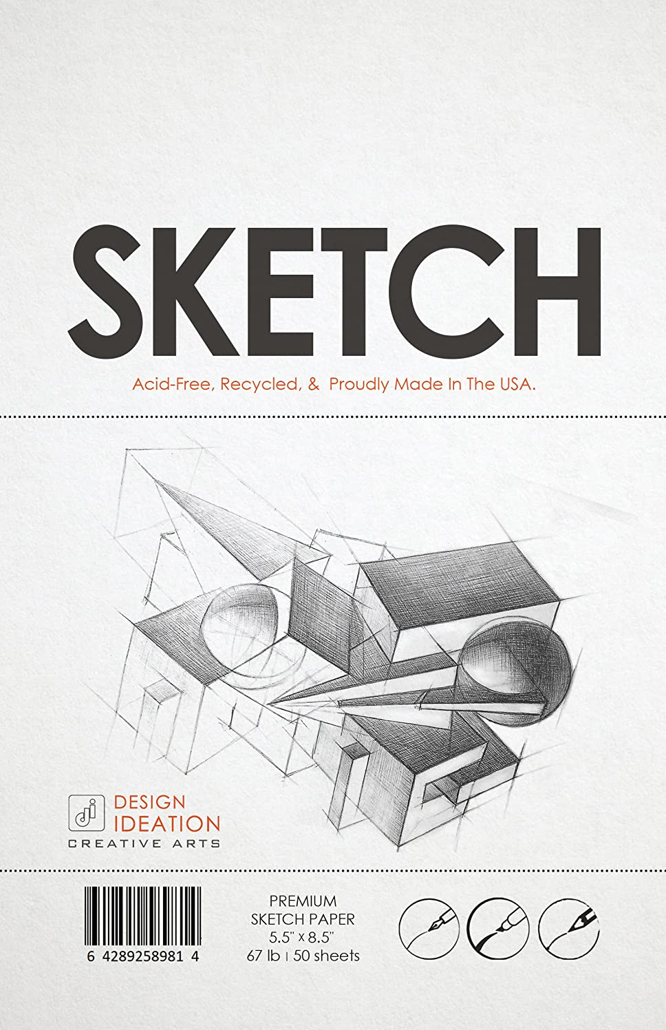 Premium Sketch Paper for Pencil, Ink, Marker, Charcoal and Watercolor Paints. Great for Art, Design and Education. Loose Pack. (50 Sheets(5.5