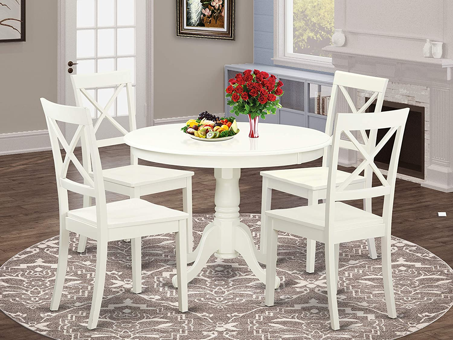 Amazon.com East West Furniture 9 Pc Dining Set Included a Round ...
