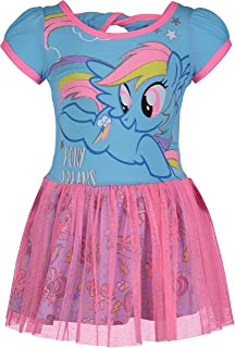 My Little Pony Toddler Girls' Tulle Dress Rainbow Dash, Blue and Pink