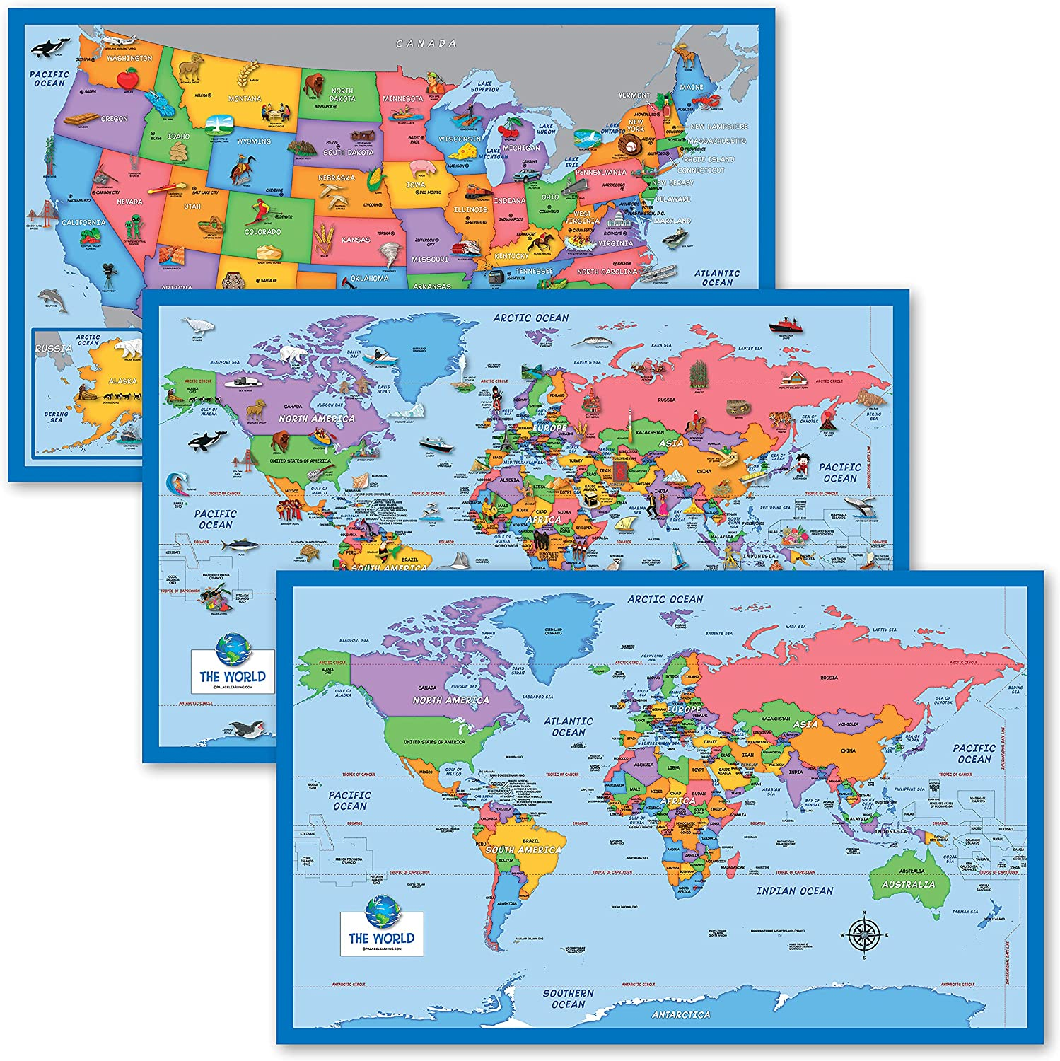 3 High quality new Pack - Illustrated Ranking TOP20 World Map for Simplified USA W Kids +