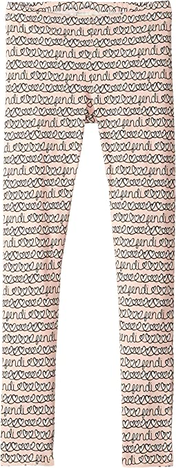 All Over Heart Print Leggings (Big Kids)