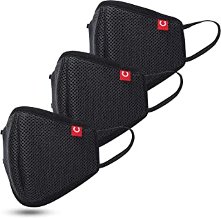 Blacksmith Steelshield - 7 Layer Protection Lab Certified 99% Bacterial Filtration Reusable and Washable Unisex Anti-Pollution Fabric Mask for Protection from Dust - Black (Pack of 3)