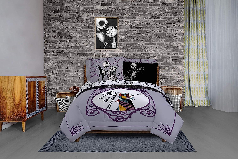 Includes Reversible Comforter & Sheet Set - Bedding Features Jack Skellington & Sally
