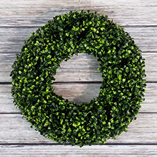 Pure Garden Boxwood Wreath, Artificial Wreath for The Front Door, Home Décor, UV Resistant – 16.5 Inches