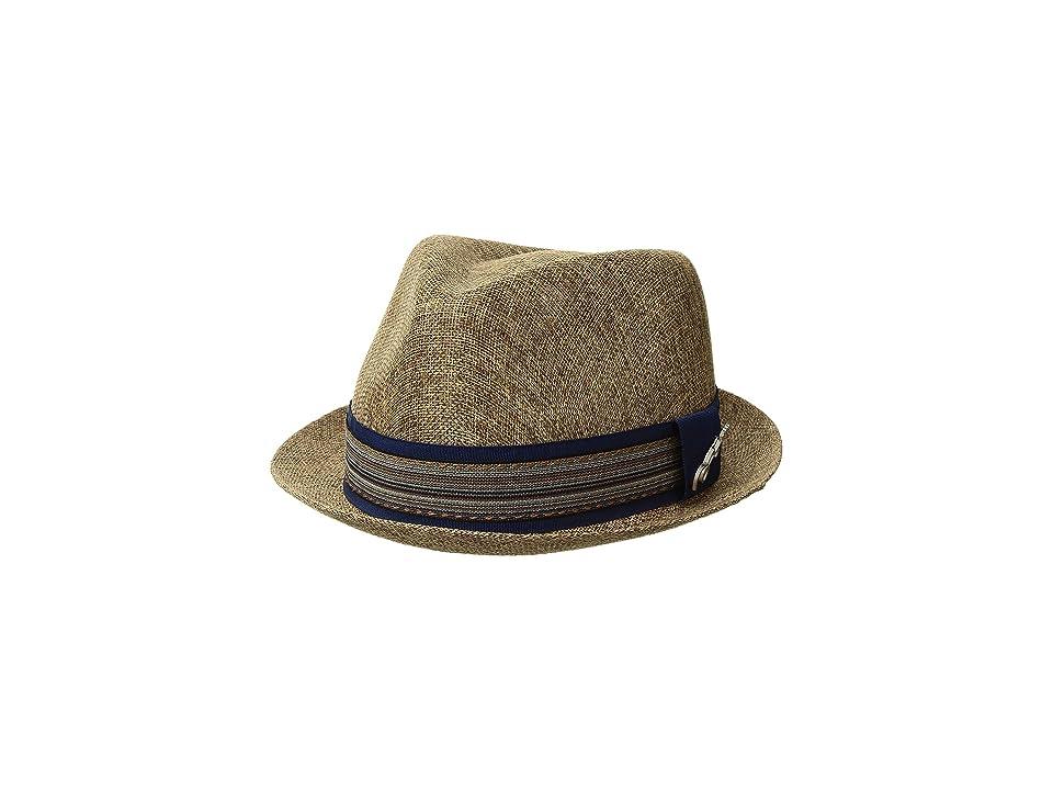 CARLOS by Carlos Santana Polyester Sinamay Pinch Front Fedora (Brown) Fedora Hats