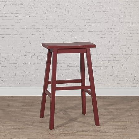 "Amazon Brand – Stone & Beam Cottage Wood Bar Stool, 29""H, Red"