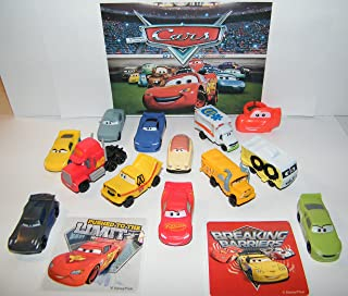 Cars Disney Movie Deluxe Figure Set of 14 Toy Kit with Plastic, Sticker Sheet, ToyRing Featuring Lightning McQueen, Mack, Dr. Damage and Many New Characters !