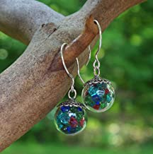 Recycled Vintage Bottles Multi Glass Orb Earrings