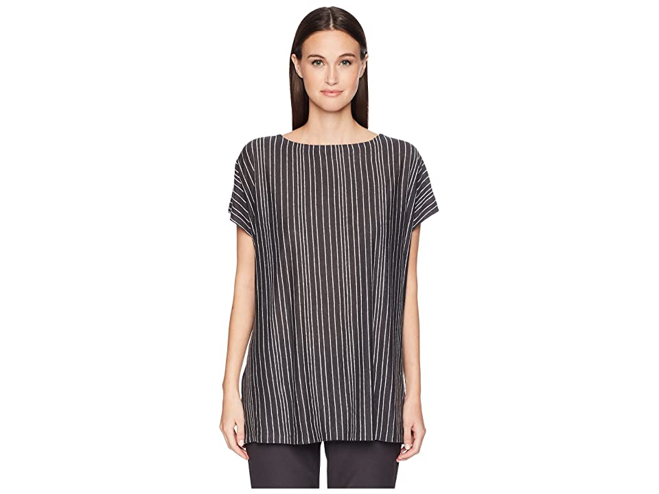 Eileen Fisher Organic Linen Striped Top (Graphite) Women