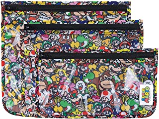 Bumkins TSA Approved Toiletry Bag, Travel Bag, Quart Zip Pouch, Clear Sided, PVC-Free, Vinyl-Free, Set of 3 – Nintendo Sup...