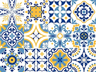 Bande de vinyle d/écoratif autocollant mural amovible pour autocollants avec motif de carrelage carrelage portugais Set de 15 unit/és Collection Fado 3 m/ètres lin/éaires