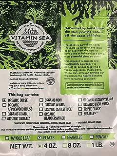 VitaminSea Organic Dulse Flakes Seaweed - 4 oz / 112 G Maine Coast - USDA & Vegan Certified - Kosher - Perfect for Keto or Paleo Diets - Atlantic Ocean - Sun Dried - Raw and Wild Sea Vegetables (DF4)