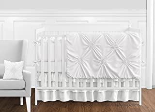 Solid Color White Shabby Chic Harper Baby Girl Crib Bedding Set with Bumper by Sweet Jojo Designs - 9 pieces