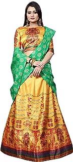 Women's Silk Lahenga Choli Digital Printed Yellow