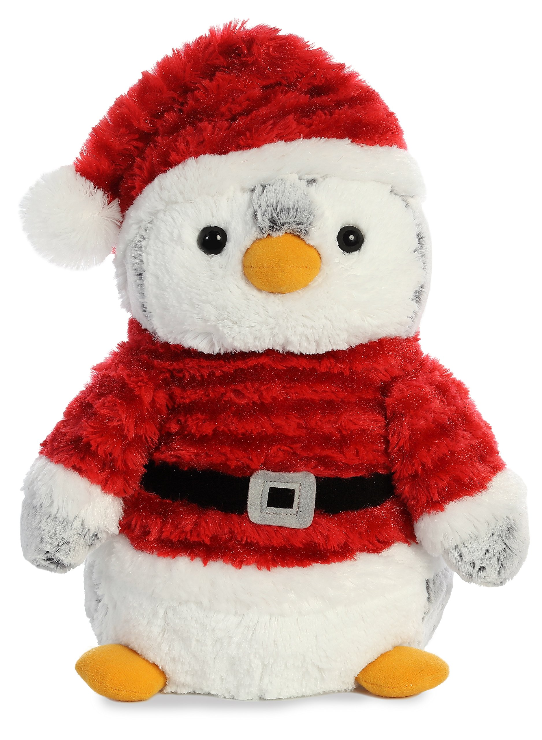 Image of Fuzzy Christmas Santa Pengiun Plush Toy