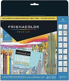 Prismacolor Premier Soft Core Pencils Adult Coloring Book Kit, New York City, 21 Pieces
