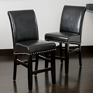 Best Selling Lennox Leather Counter Stool, Black, Set of 2