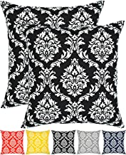 Throw Pillow Cover Cushion Cases Cotton Printed Damask (18 x 18 Inches, Set of 2, Black) by Urban Style Décor