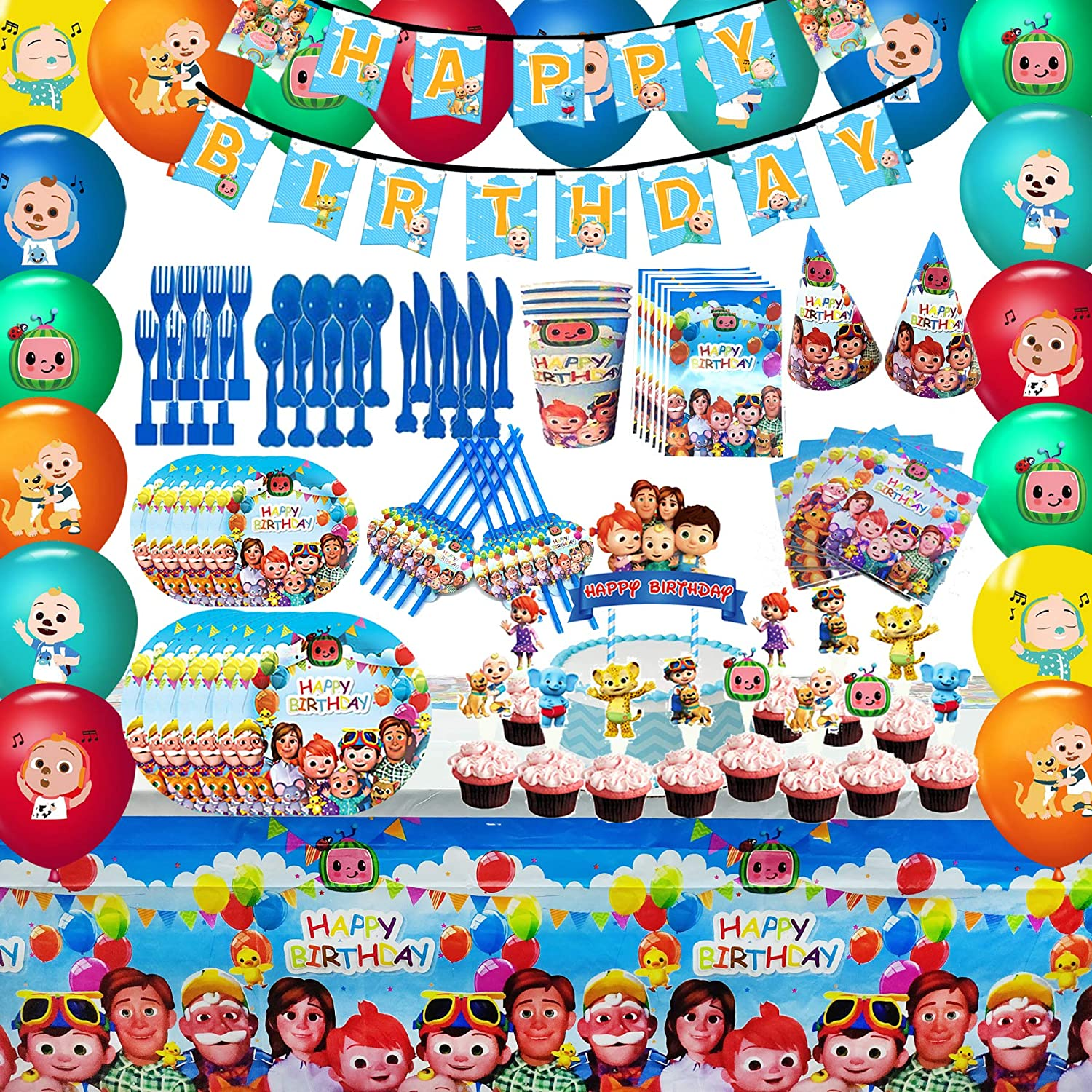 Cocomelon Party Favor Party Decorations Cocomelon Birthday Party Supplies, Flatware, Spoons, Fork, Knife, Plates, Cups, Table Covers, Banner, Napkins, Cake Toppers, Balloons for Kids Boy