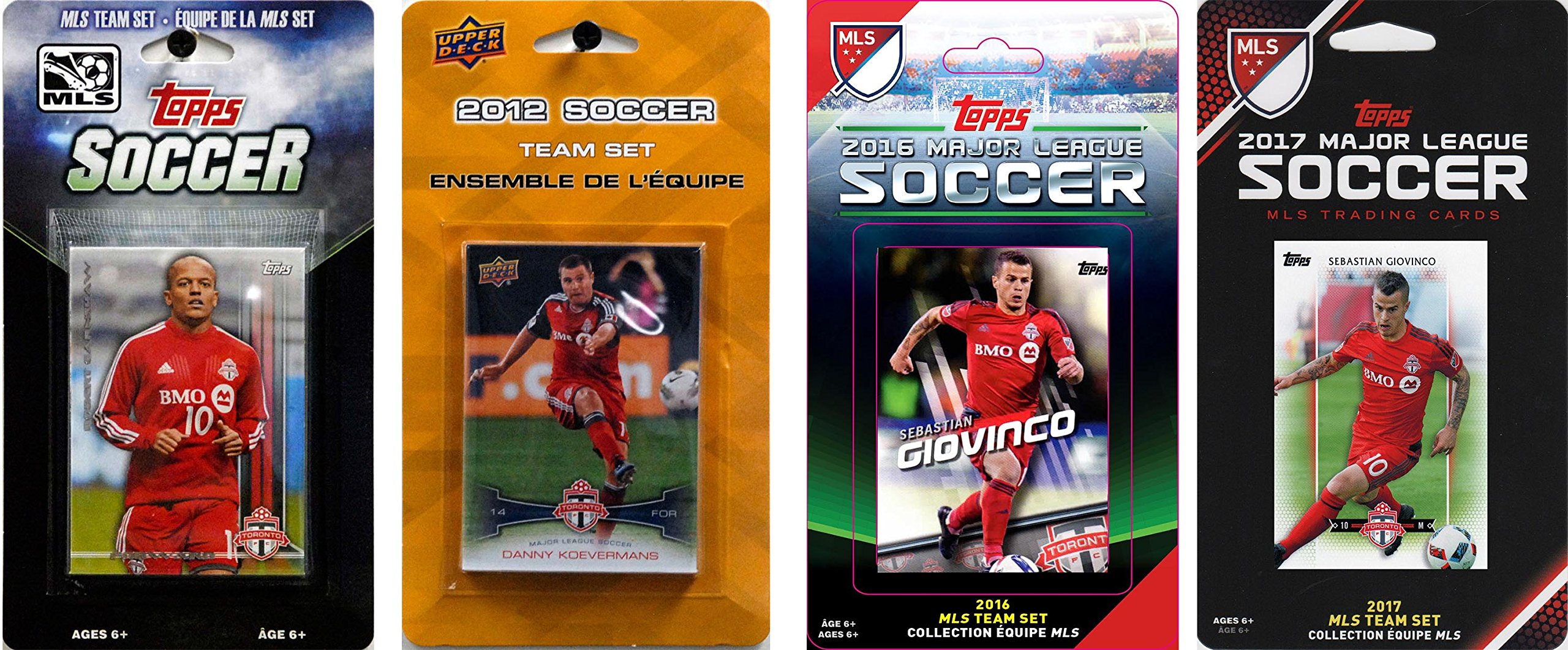 C&I Collectables MLS Toronto FC Men's 4 Different Licensed Trading Card Team Sets, White