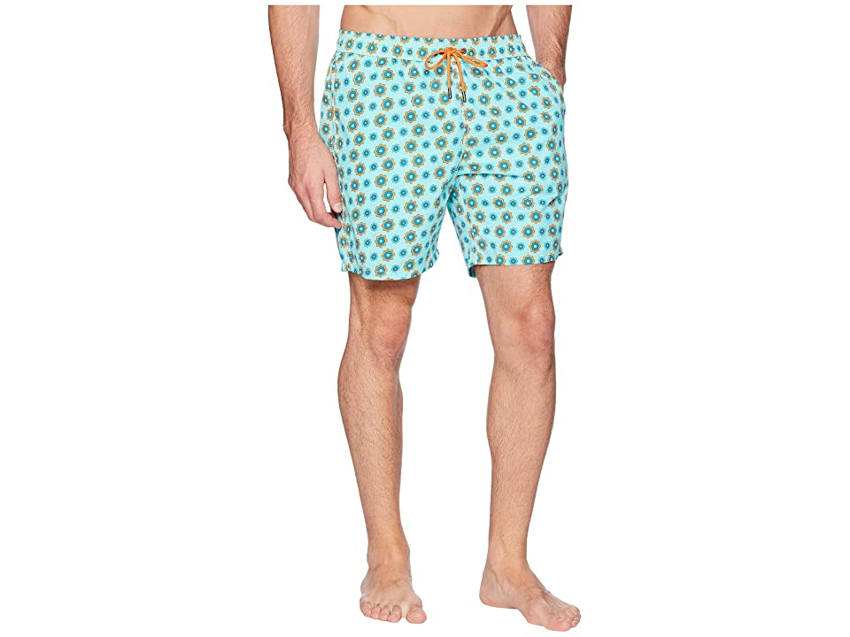 Mr. Swim Spin Wheel Elastic Printed Swim Trunk (Turquoise) Men