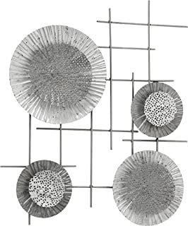 Modern Wall Art, Layered Grey Tonal Composition, Abstract Metal Grid with Circular Crinkled and Perforated Discs , Hand Welded, Craft Finish, Vertical or Horizontal Orientation, 17 W x 21 H Inches
