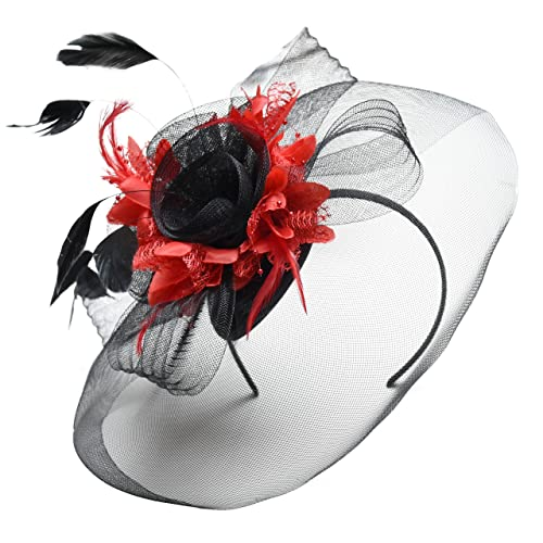 Black Feather Flower Fascinator Hat Veil Net Headband Clip Ascot Derby  Races Wedding 7cb7286736f
