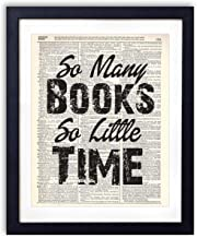 So Many Books So Little Time Typography (#1) Upcycled Vintage Dictionary Art Print 8×10