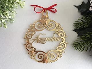 Best Christmas Hanging Tree Ornaments Handmade Luxury Personalized Laser Cut Bauble Custom Name Tags Baubles Babys First Christmas Ball Xmas Gifts Family Gold Silver Acrylic Wooden Decorations Home Decor Review