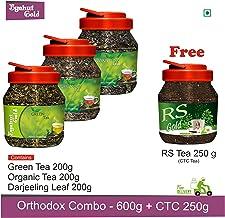 Byahut Gold - Green Tea - 1 x 200g and Organic Green Tea - 1 x 200g and Darjeeling Leaf - 1 x 200g and RS Gold - Black CTC...