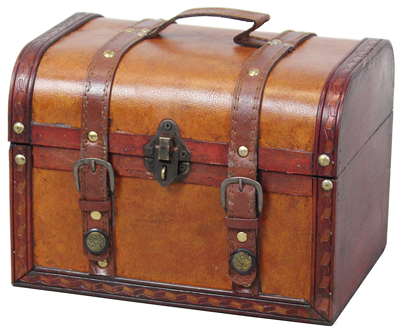 Vintiquewise QI003006.L TM Decorative Wood Leather Treasure Box (Large Trunk Only)