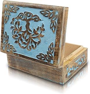 Great Birthday Gift Handmade Decorative Wooden Jewelry Box Tree Of Life Carving Jewelry Organizer Keepsake Box Treasure Ch...