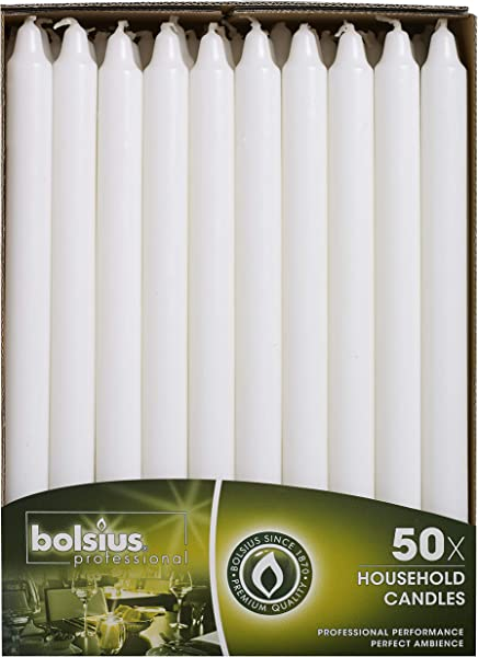 BOLSIUS Straight Unscented White Candles Pack Of 50 11 Inch Long Candles 12 Hour Long Burning Candles Perfect For Emergency Candles Chime Candles Table Candles For Wedding Dinner Christmas