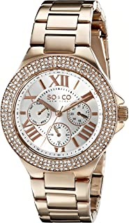 SO & CO New York Madison Women's Quartz Watch with White Dial Analogue Display and Rose Gold Stainless Steel Bracelet 5019.4