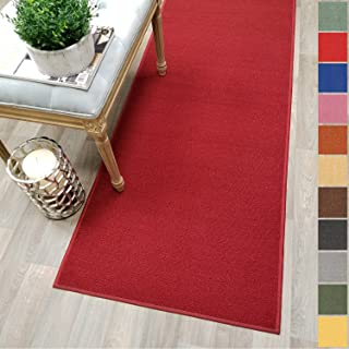 Custom Size RED Solid Plain Rubber Backed Non-Slip Hallway Stair Runner Rug Carpet 22 inch Wide Choose Your Length 22in X 12ft