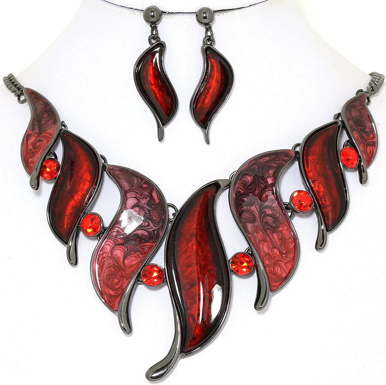 AnsonsImages Red Curvy Leaf Leaves Dark Gray Bib Necklace Earrings Set Fashion Jewelry