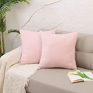 NATUS WEAVER 2 Pack Baby Pink Pillow Case Soft Linen Square Decorative Throw Cushion Cover Pillowcase for Car Sofa Office 18