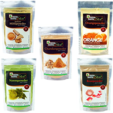 Online Quality Store Multani Mitti + Chandan Powder + Orange Peel Powder + Neem Powder + Rose Powder, 400g