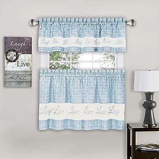 "Achim Home Furnishings, Light Blue Live, Love, Laugh Window Curtain Tier Pair and Valance Set, 58"" x 24"", Pair & Valance"