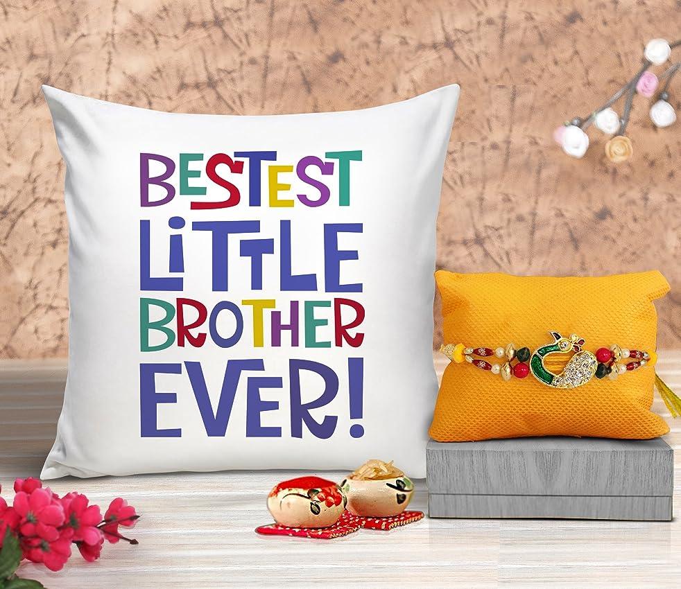 TIED RIBBONS Rakhi for Brother Combo (Designer Rakhi, Printed Cushion with Filler)
