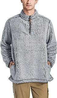LASIUMIAT Men's Autumn Winter Sherpa Pullover Fuzzy Sweater Quarter-Zip Fleece Jacket Coat