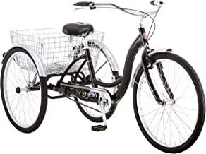 Schwinn Meridian Adult Tricycle, with Low Step-Through Aluminum Frame, Front and Rear Fenders, Adjustable Handlebars, Large Cruiser Seat, and Rear Folding Basket