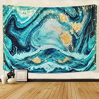 Likiyol Marble Tapestry, Blue Gold Ocean Art Tapestry Natural Luxury Swirl Marble Tapestries Liquid Flow Gouache Tapestry for Room