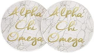 Alpha Chi Omega Sorority Absorbent Sandstone Car Cup Coaster (Set of 2) a chi o (Light Marble Gold Script)