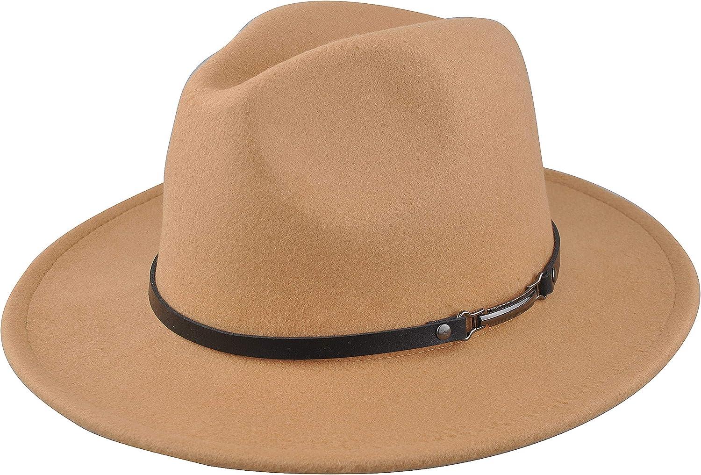 EINSKEY Women's Felt Fedora Hat, Wide Brim Panama Hat with Belt Buckle Trilby Hat