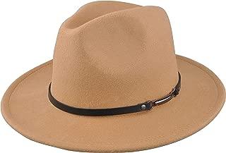 Womens Felt Fedora Hat, Wide Brim Panama Cowboy Hat Floppy Sun Hat for Beach Church