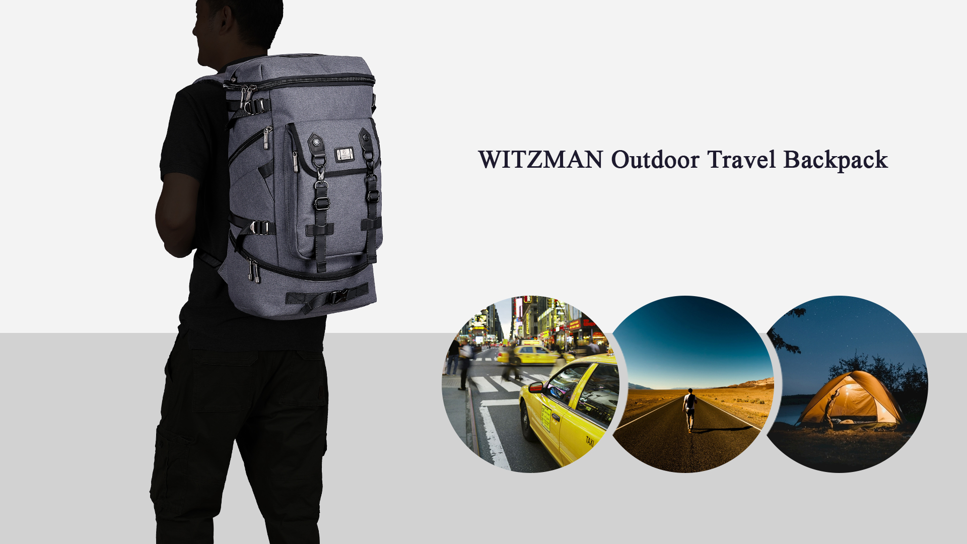 WITZMAN Travel Backpack For Men Hiking Nylon Rucksack Water Resistant Laptop Backpack Mens Casual Knapsack